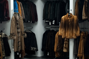 Display of Beautiful Fur garments